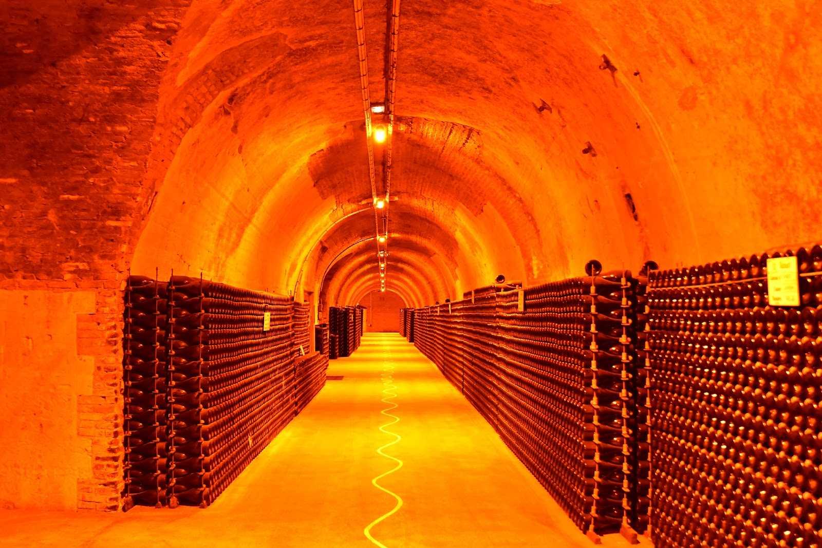Crayères Ruinart et cave de bouteilles à champagne